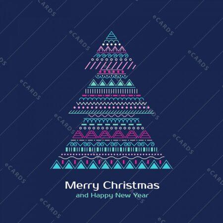 Barvno božično drevo - voščilnica GC0093