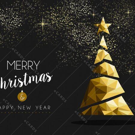 Vesel božič in srečno novo leto v zlati - voščilnica GC0119