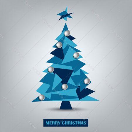 Abstraktno božično drevo z modrimi trikotniki - voščilnica GC0041