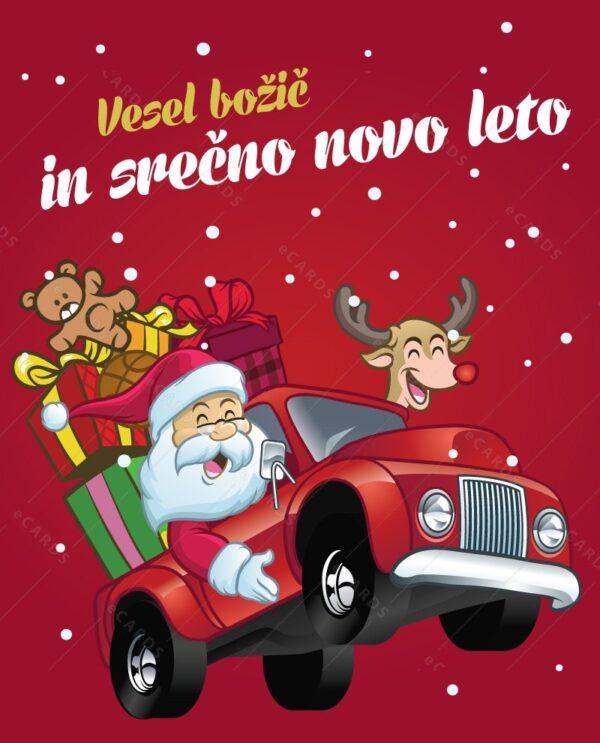 Božičkov avto e-voščilnica gc0158