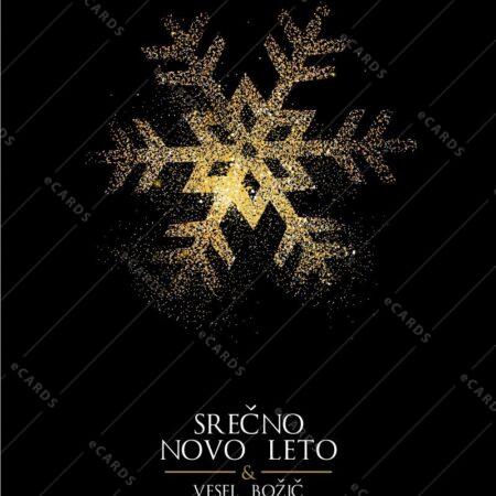 Božična in novoletna bleščeča snežinka - voščilnica GC0014