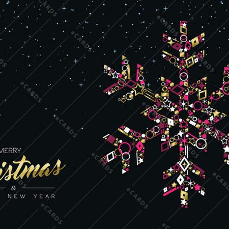 Božična in novoletna zlata snežinka - voščilnica GC0020