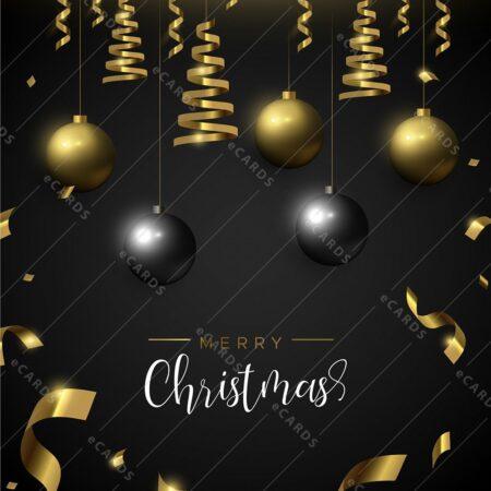 Božični črno zlati ornamenti - voščilnica GC0032