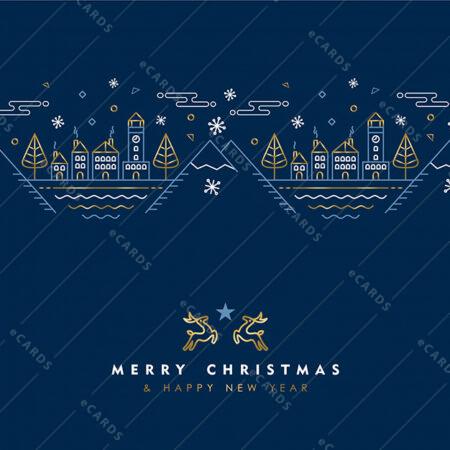 Božični in novoletni zlat linijski vzorec - voščilnica GC0017