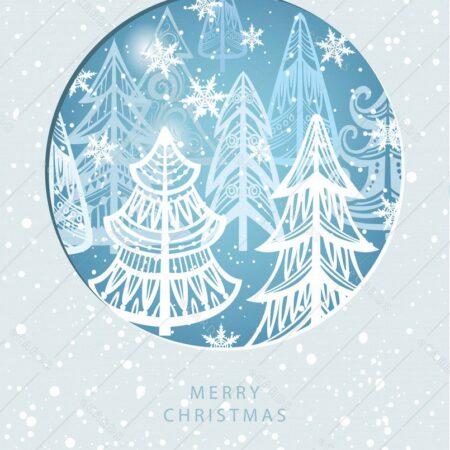 Božični zimski gozd - voščilnica GC0118