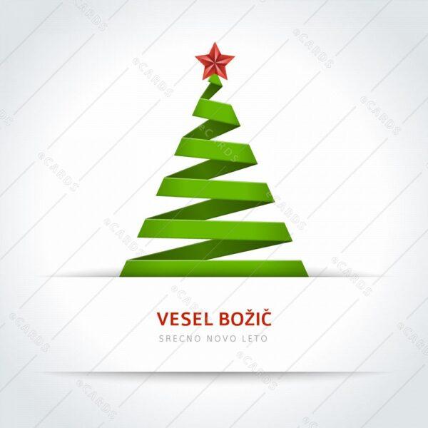 Božično drevo iz papirnatega traka - voščilnica GC0073