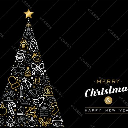 Božično in novoletno drevo  z zlatim orisom - voščilnica GC0018