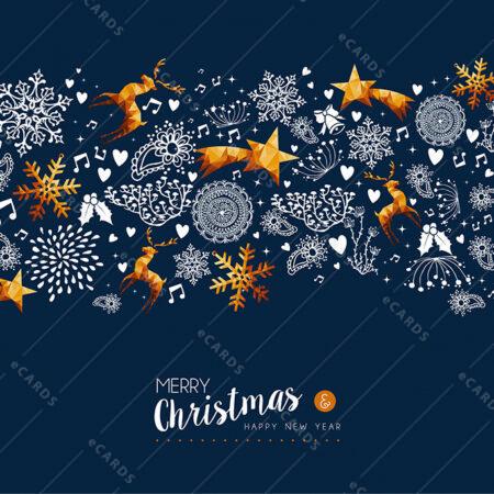 Božično in novoletno zlato praznično vzdušje - voščilnica GC0019