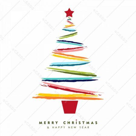 Božično in nvoletno barvno drevo - voščilnica GC0021