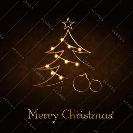 Božično novoletna jelka v zlati - voščilnica GC0078