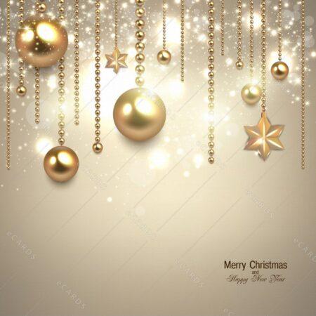 Elegantne božične zlate bunkice - voščilnica GC0082