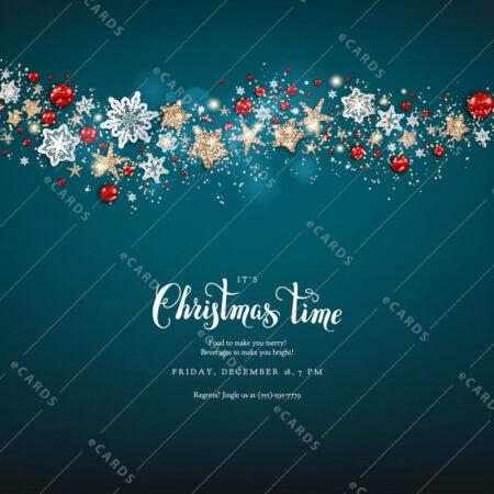 Modra božična z božično dekoracijo - voščilnica GC0006