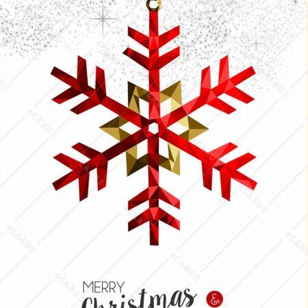 Rdeča snežinka za novo leto - voščilnica GC0136