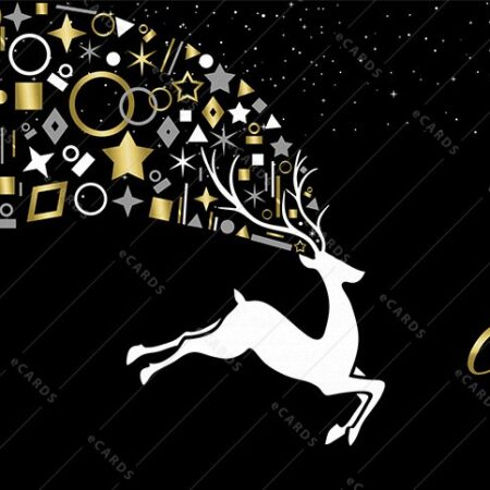 Zlata božično novoletna dekoracija jelenček - voščilnica GC0088