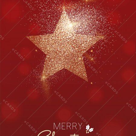 Zlata svetleča novoletna zvezda - voščilnica GC0110